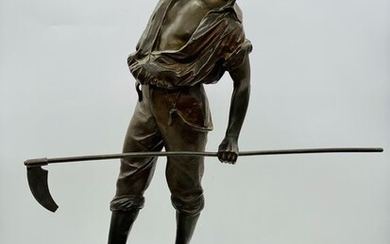 Large peasant sculpture in the style of Mathurin Moreau - 82 cm - Spelter - Late 19th century