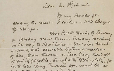 "Lawrence (D.H., writer, 1885-1930) Autograph Letter signed to ""Mr Rickards"", Oaxaca, Mexico, 1924; a book on Lawrence's time in Oaxaca; and two photographs of the author, one in Mexico (4)"