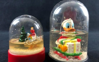 Lot of 2 Vintage Mini Donald Duck Christmas Holiday
