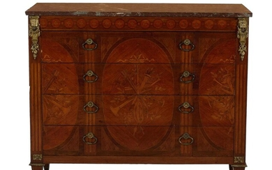 Louis XVI style marquetry-inlaid marbletop commode