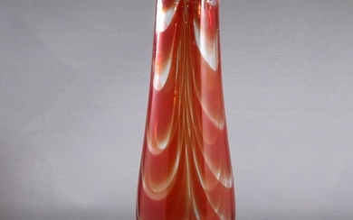Mid-Century Modern Red Art Glass Case with Pontil Base