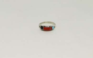 Native American Navajo Inlay Multi-Color Ring By Lnjose
