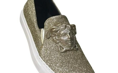 New Versace Palazzo Low-Top Sneakers In Gold Glitter