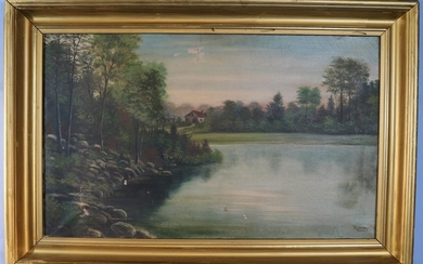 Oil on canvas of lake scene signed Miller, 28 x 42