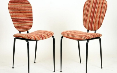 PAIR ITALIAN IRON UPHOLSTERED SIDE CHAIRS C.1950