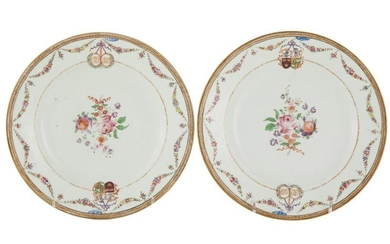 *Pair Chinese Export armorial porcelain plates, Dutch market