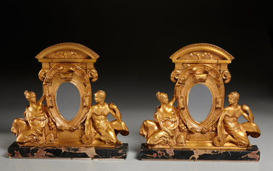 Pair Neoclassical dore bronze picture frames
