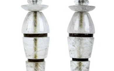 Pair Of Art Moderne Rock Crystal Candlesticks