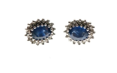 Pair of 9ct gold, sapphire and diamond ear studs,...