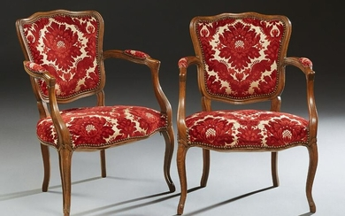 Pair of French Louis XV Style Carved Beech Upholstered