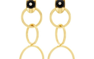 Pair of Gold, Black Onyx Bead and Diamond Circle Link Pendant-Earrings, Aletto Brothers
