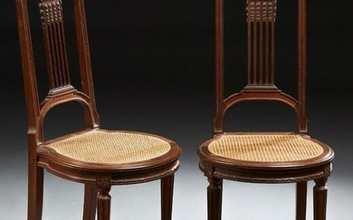 Pair of Louis XVI Style Carved Mahogany Side Chairs