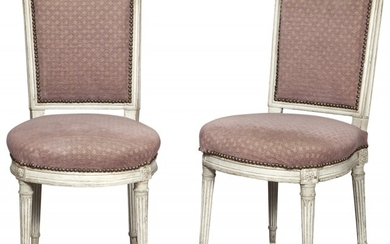 Pair of Louis XVI Upholstered Painted Wood Side Chairs