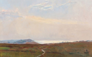 Poul Friis Nybo: Landscape with hills and view towards the sea. Signed F.N. Oil on canvas. 50×65 cm.