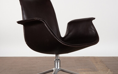 Preben Fabricius & Jørgen Kastholm, Walter Knoll, chair / lounge chair, model '6727 Tulip', aluminium, leather, Germany, 1950s