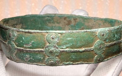Prehistoric, Iron Age Bronze Exclusive Arm Bracelet with a Lovely Geometric Decoration of Multiple Circles Astological Meaning