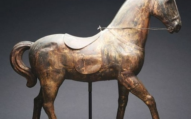 RARE AND UNIQUE FULL-BODY TIN STANDING HORSE WEATHER