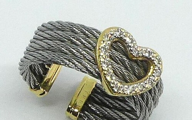 """RING """"cable"""" in steel and gold, the open ring is decorated with a heart set with small diamonds. Gross weight 3,5 g"""