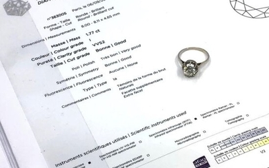 RING in white gold and platinum with 1.77 ct brilliant-cut diamond