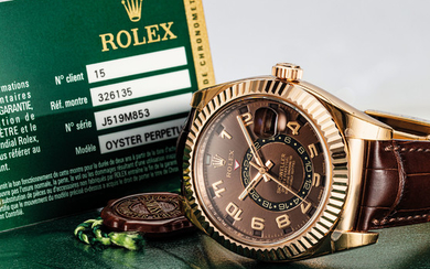 ROLEX. A FINE 18K PINK GOLD AUTOMATIC ANNUAL CALENDAR WRISTWATCH WITH DUAL TIME AND SWEEP CENTRE SECONDS, SIGNED ROLEX, OYSTER PERPETUAL, SKY-DWELLER MODEL, REF. 326135, CASE NO. J519M853, CIRCA 2013