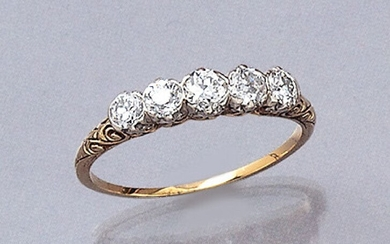 Ring with diamonds, approx. 1890s , YG...