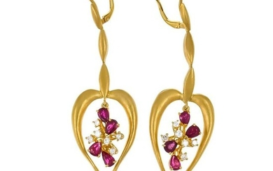 Ruby and brilliant earrin