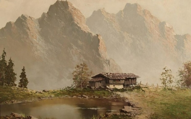 SIGNED OIL ON CANVAS OF RUSTIC CABIN NEAR THE ALPS
