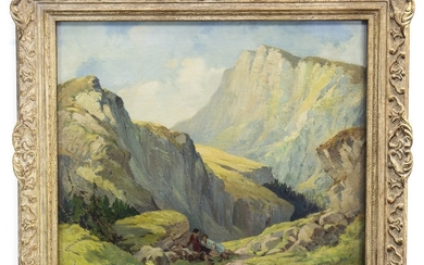 SWISS MOUNTAIN PASS WITH FIGURES RESTING, AN