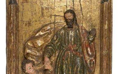 Saint Joseph and the Christ Child. Carved, gilded and