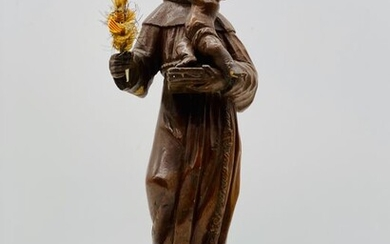 Sculpture, Figure of Saint Anthony and the Child - Chestnut wood - 19th century