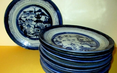 Set of 10 Antique Chinese Canton Luncheon Plates