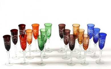 Set of Eighteen Bohemian Style Colored Glass Goblets.