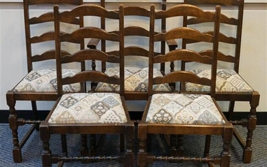 Set with Five Jacobean Style Oak Dining Chairs and Refectory Top Table