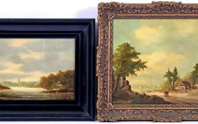 Signed Petersen, Landscape with village and figures