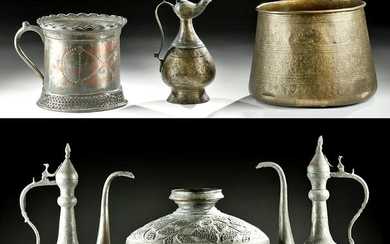 Six 19th C. Middle Eastern Brass Vessels