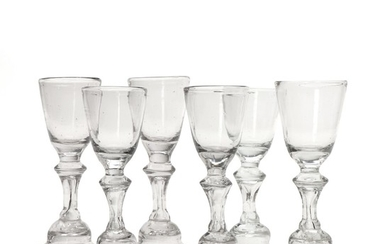 Six schnapps glasses - Hessian type. Germany, 18th century. H. 11–11.5 cm. (6)