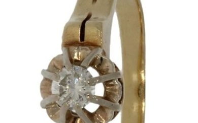 Solitair - 14 kt. Yellow gold - Ring - 0.13 ct Diamond
