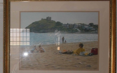 Steven Jones Family on the beach at Cricieth Castle oil on b...