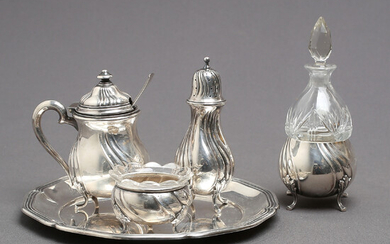 TABLE SET, 4 parts, nickel silver, rococo style, first half of the 20th century.