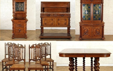 TEN PIECE CONTINENTAL CARVED OAK DINING SET