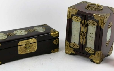 TWO CHINESE ANTIQUE JADE MOUNTED DRESSER BOXES