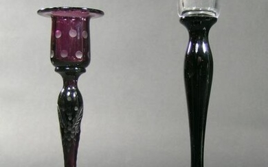 TWO PAIRPOINT GLASS CANDLESTICKS
