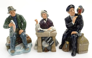 Three Royal Doulton seated figures, comprising Shore