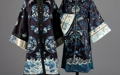 Two Black Ground Embroidered Silk Lady's Robes Length