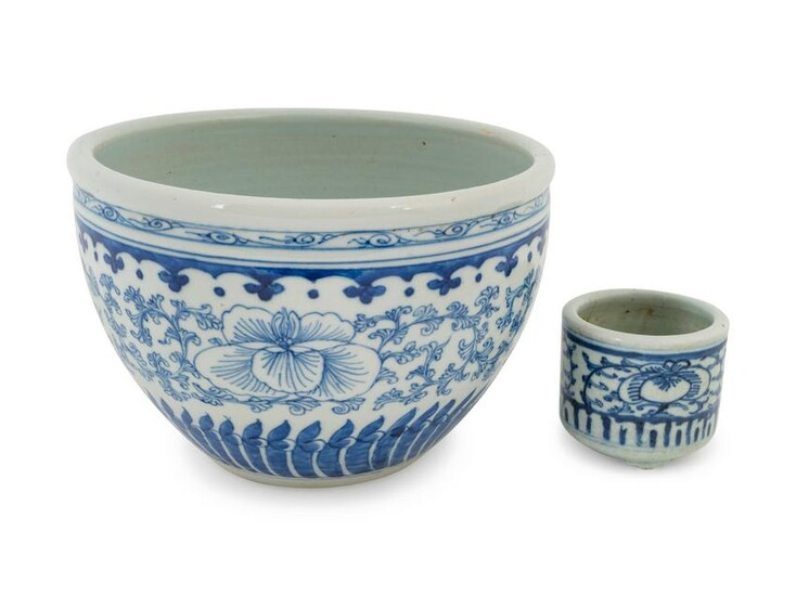 Two Chinese Blue and White Porcelain Scholar's