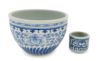 Two Chinese Blue and White Porcelain Scholar's Articles