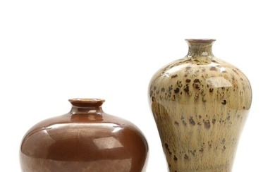NOT SOLD. Two Chinese porcelain vases, decorated with capuchin and mottled glaze. 20th century. H....