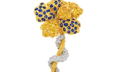 Two-Color Gold, Sapphire, Yellow Sapphire and Diamond Flower Brooch