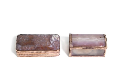 Two hardstone snuff boxes with gilt-metal mounts, English or German, circa 1770 and early 19th century