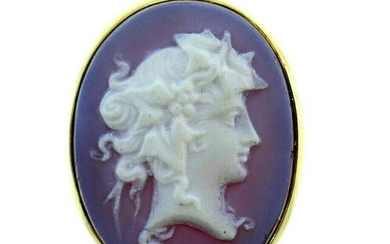 Vintage 14k Yellow Gold Agate Cameo Ring
